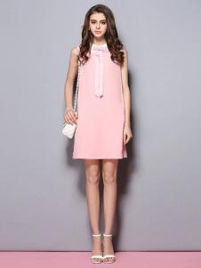 SYBEL女装粉色无袖连衣裙