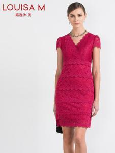 路逸沙·美女装梅红蕾丝连衣裙