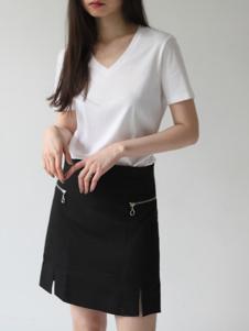 嘉茱莉女装新品白色T恤短裙套装