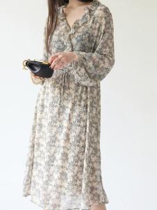 嘉茱莉女装新品印花雪纺连衣裙