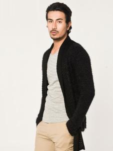 Mr.DT男装黑色开衫外套