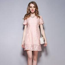 SYBEL女装粉色网纱蕾丝连衣裙