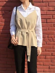 MIXXMIX女装新品白色衬衫两件套装