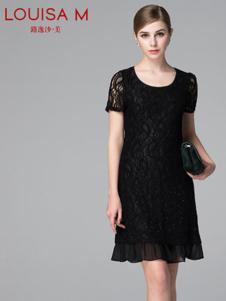 路逸沙·美女装黑色蕾丝雪纺连衣裙