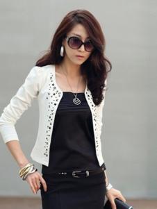 卡亚卡女装白色铆钉外套