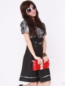 卡亚卡女装黑色系带半身裙