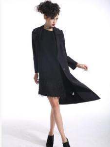 曼德诗女装黑色蕾丝连衣裙
