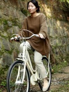 素茶女装棕色长款套头针织衫