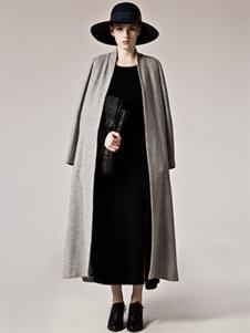AUM女装灰色长款开衫大衣