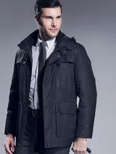 七彩马男装黑色休闲商务外套