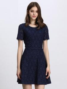 Lavinia女装藏青蕾丝连衣裙