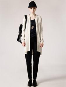 AUM女装米白色开衫外套
