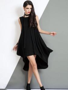 曼德诗女装黑色不规则连衣裙