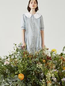 senlinniao女装灰色衬衫连衣裙