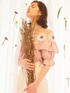 senlinniao女装粉色一字肩T恤