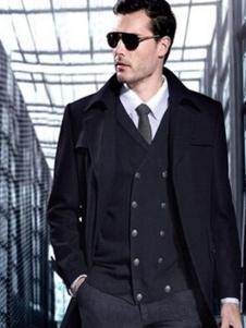 七彩马男装黑色商务夹克