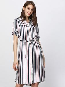 Lavinia女装条纹衬衫连衣裙