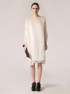 AUM女装白色蕾丝连衣裙