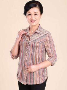 秋之歌女装条纹雪纺衬衫