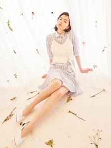 senlinniao女装蓝色条纹连衣裙