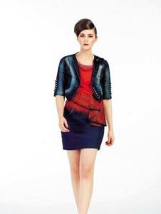 凸彩女装藏青色短款外套