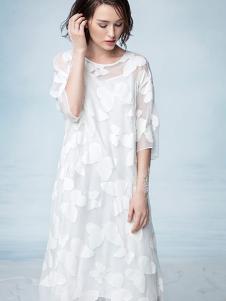 瓒妮佛女装白色雪纺连衣裙