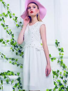 韵色女装白色蕾丝无袖连衣裙