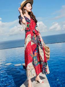 YUSAM雨珊女装18民族复古连衣裙