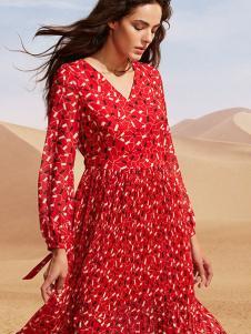 瓒妮佛女装红色碎花连衣裙
