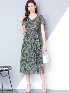 妃萱女装绿色印花连衣裙