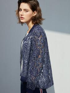 瓒妮佛女装藏青色蕾丝透明外套