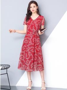 妃萱女装红色印花装连衣裙