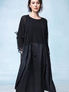瓒妮佛女装黑色雪纺连衣裙