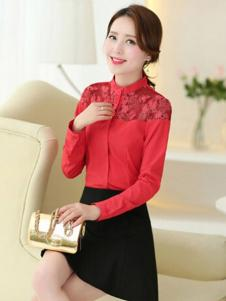 臻丽女装红色蕾丝衬衫
