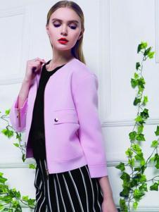 韵色女装粉色西装外套