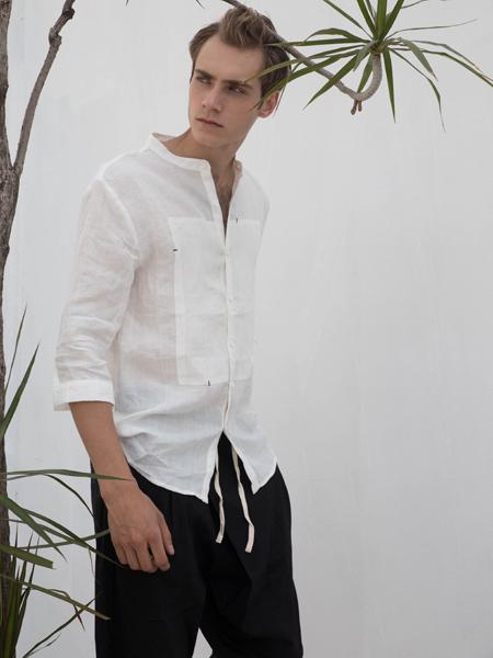 HS男装2018夏白色棉麻衬衫