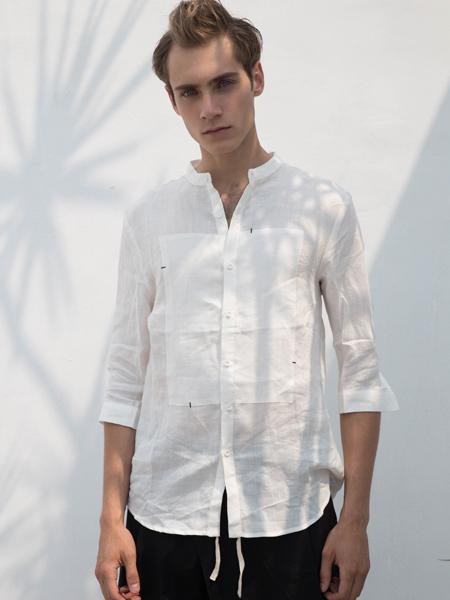 HS男装18夏棉麻白色衬衫