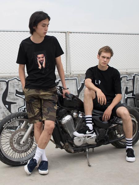 2018HS设计师男装经典黑色T恤