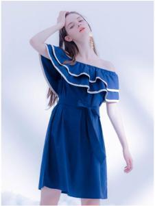 CReil女装深蓝色一字肩连衣裙