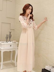 WDS女装粉色五分袖连衣裙