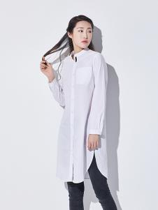 WDS女装纯色立领长袖中长款衬衫