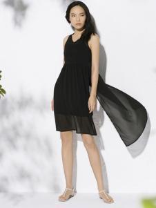 万丽女装夏款黑色连衣裙