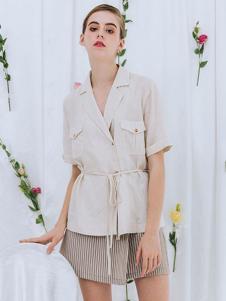 红馆女装白色短袖系带外套