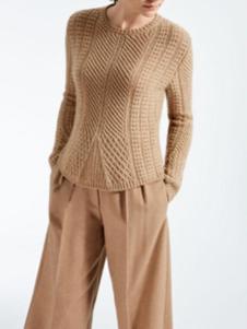 玛丝图女装卡其色套头毛衣