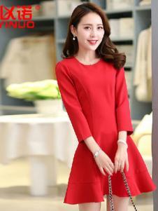 以诺女装新娘红长袖韩版连衣裙