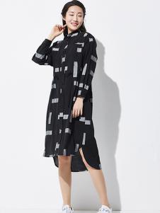 WDS女装立领撞色中长款女装衬衫