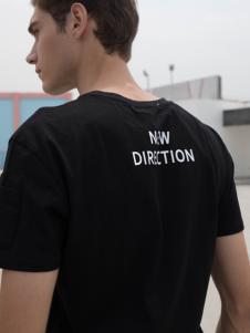 HS男装黑色T恤18新款