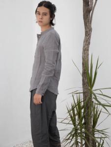HS男装18夏棉麻灰色衬衫