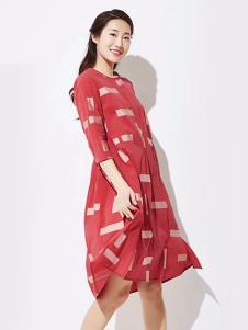 WDS女装版红色宽松腰甜美风连衣裙