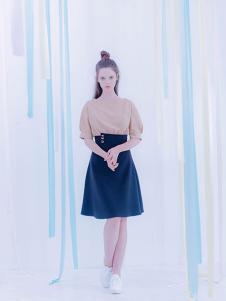 CReil女装藏青色高腰半身裙
